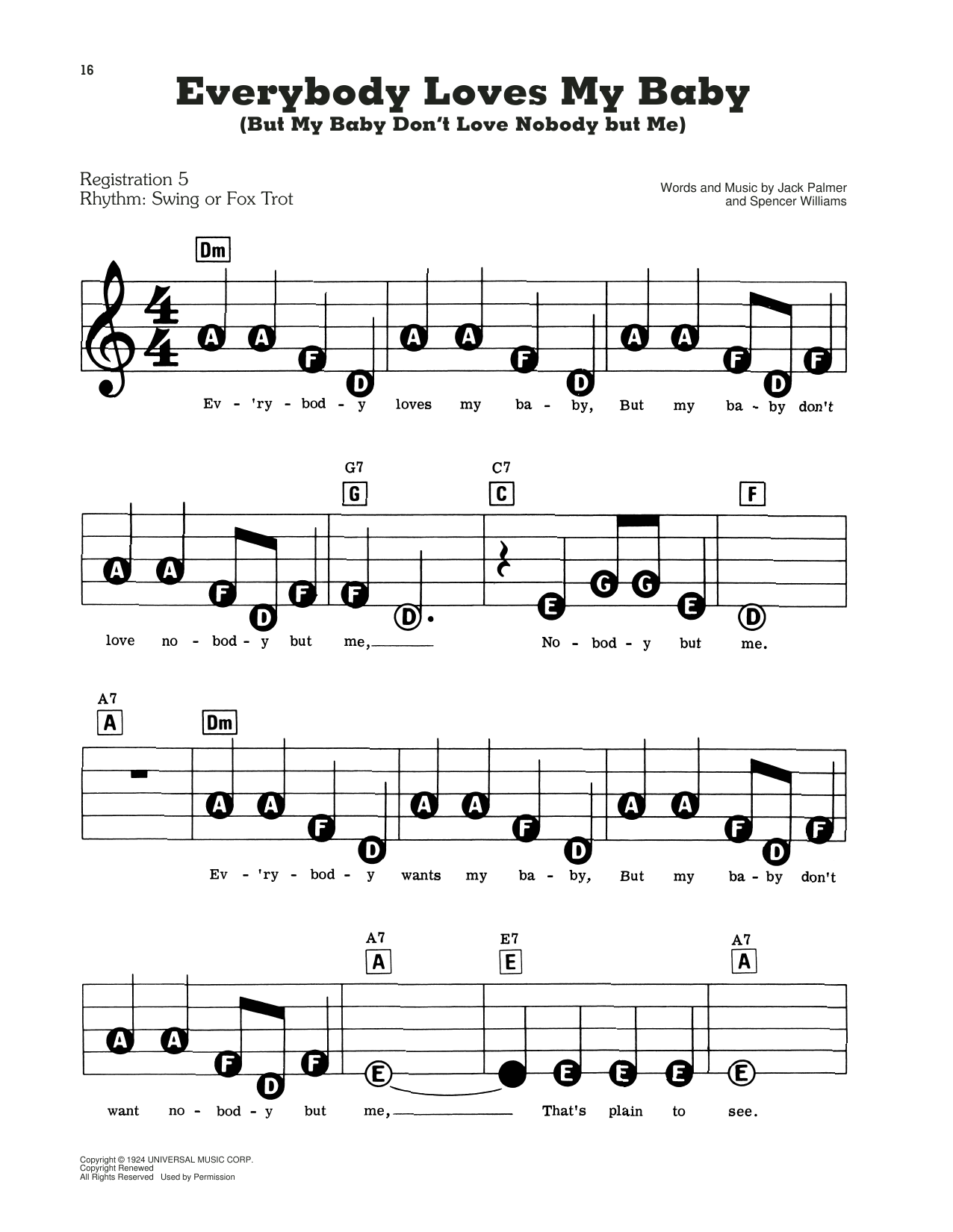 Everybody Loves My Baby (But My Baby Don't Love Nobody But Me) Sheet Music