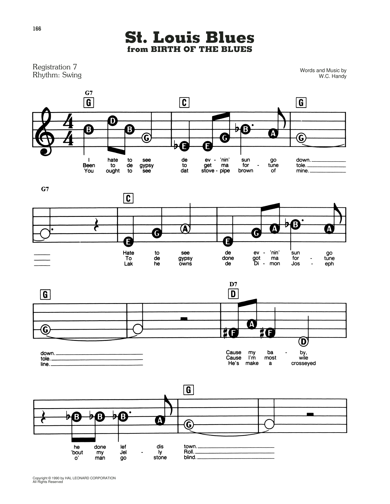 St. Louis Blues (from Birth Of The Blues) (E-Z Play Today)
