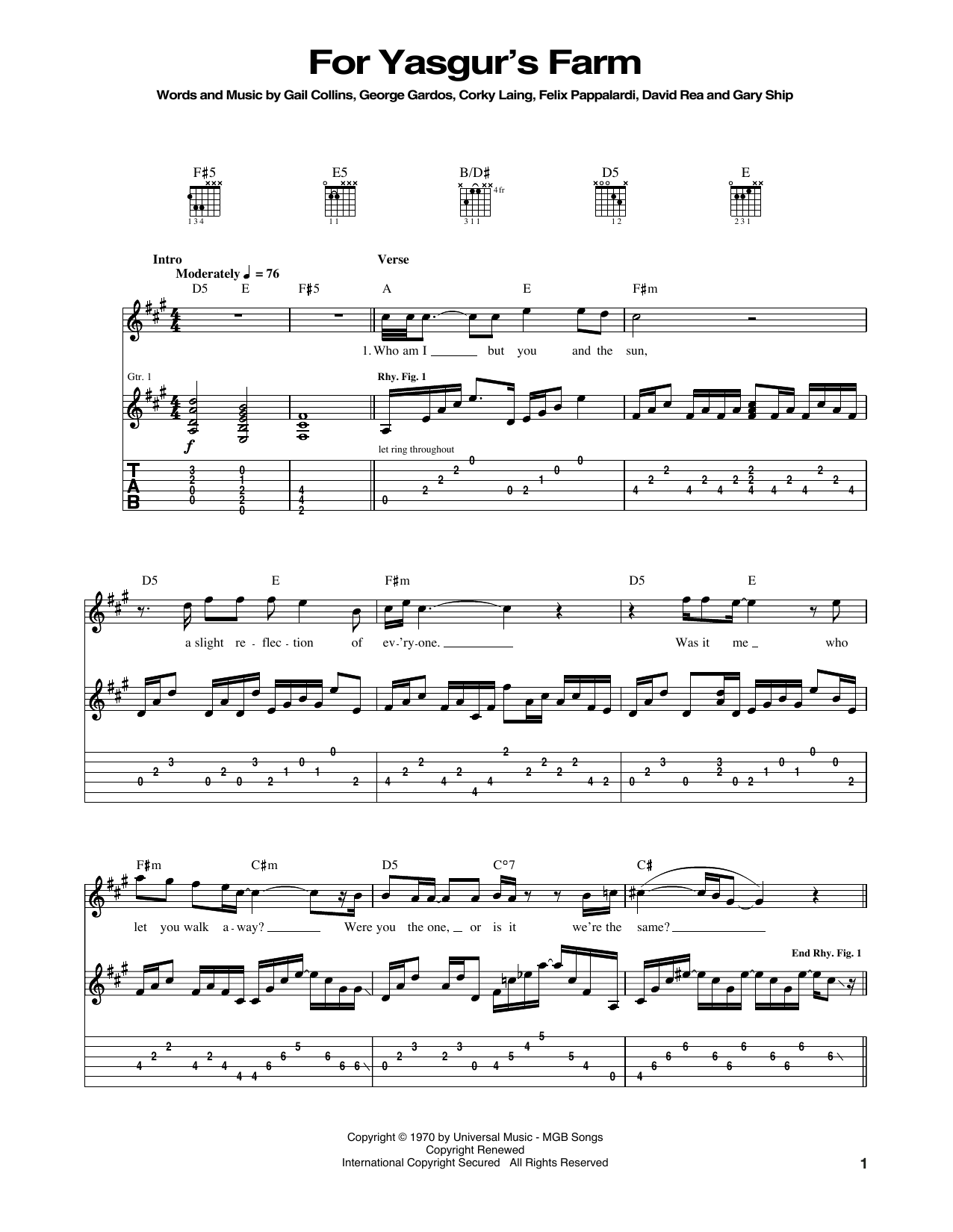 Tablature guitare For Yasgur's Farm de Mountain - Tablature Guitare