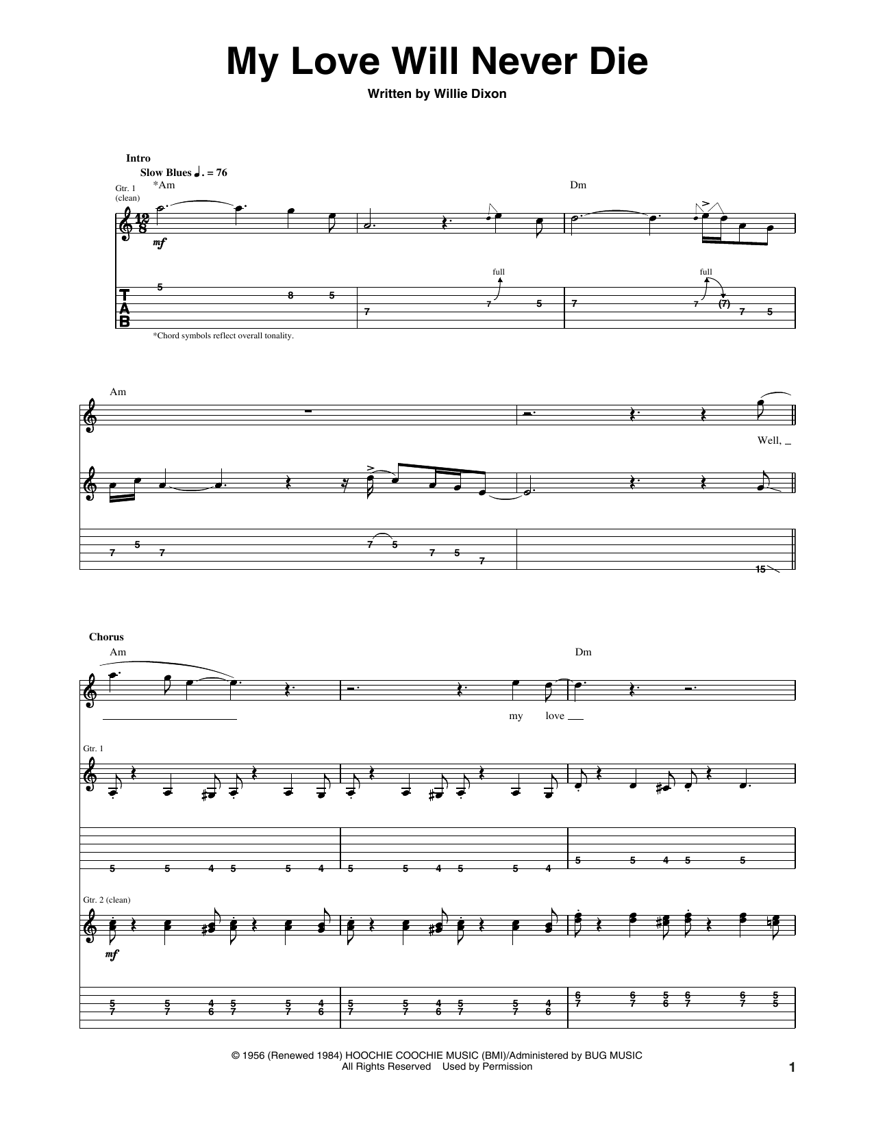 My Love Will Never Die Sheet Music