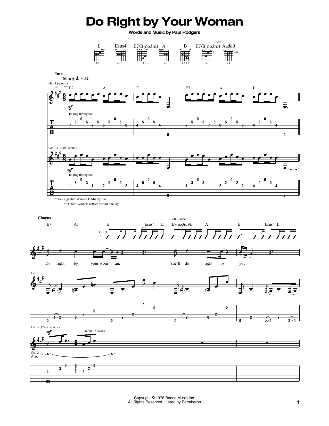Do Right By Your Woman Sheet Music