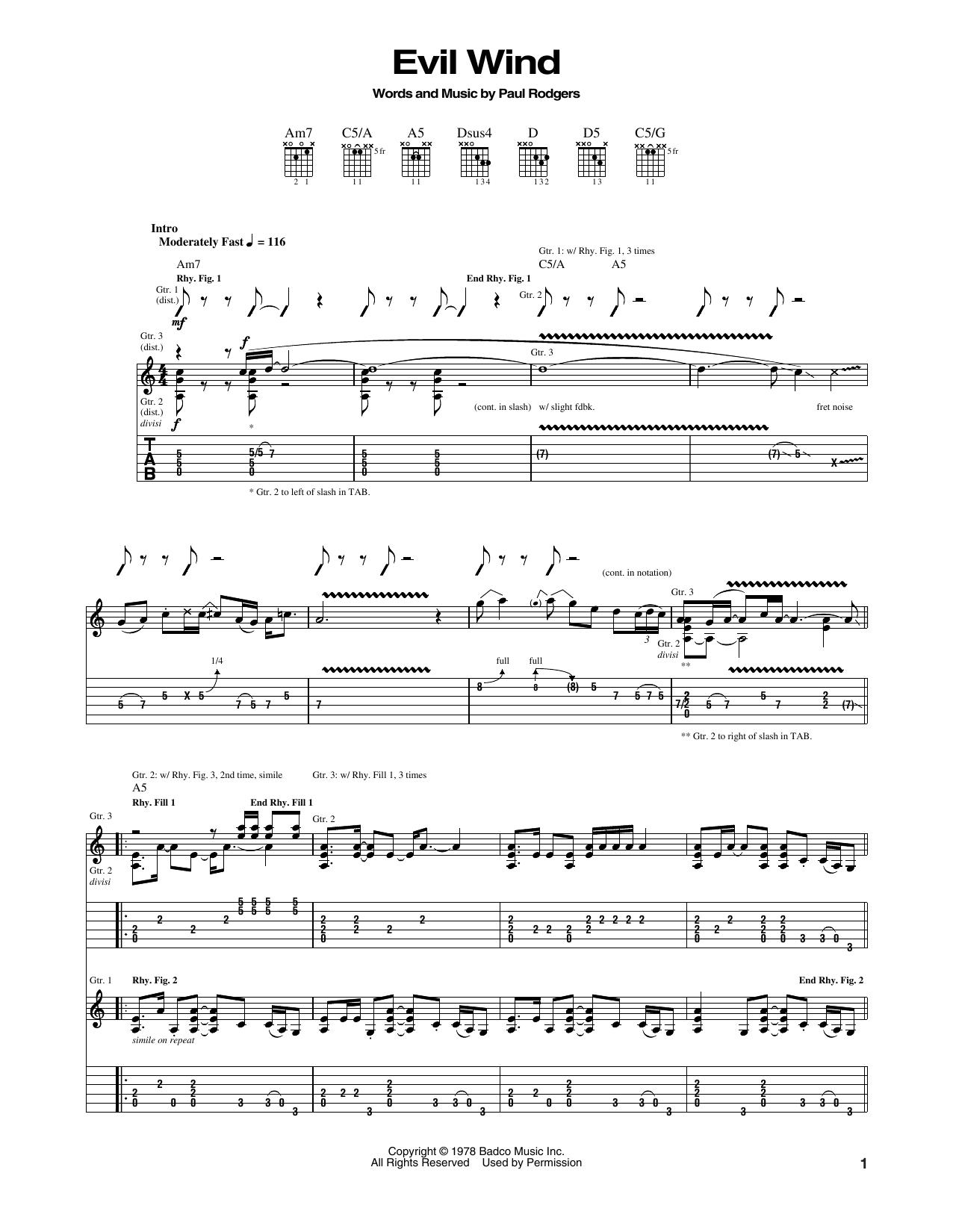 Evil Wind Sheet Music