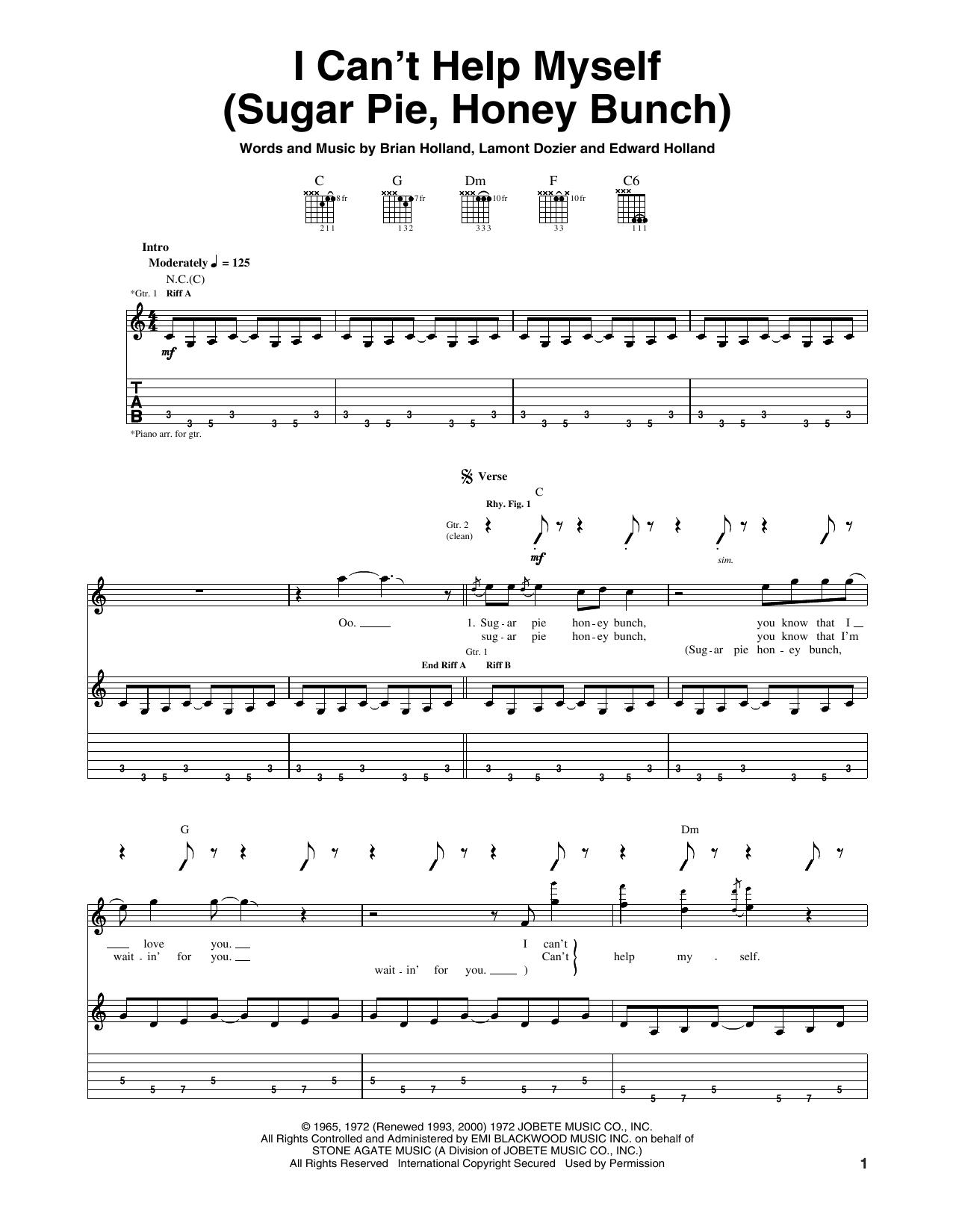 I Can't Help Myself (Sugar Pie, Honey Bunch) (Guitar Tab)