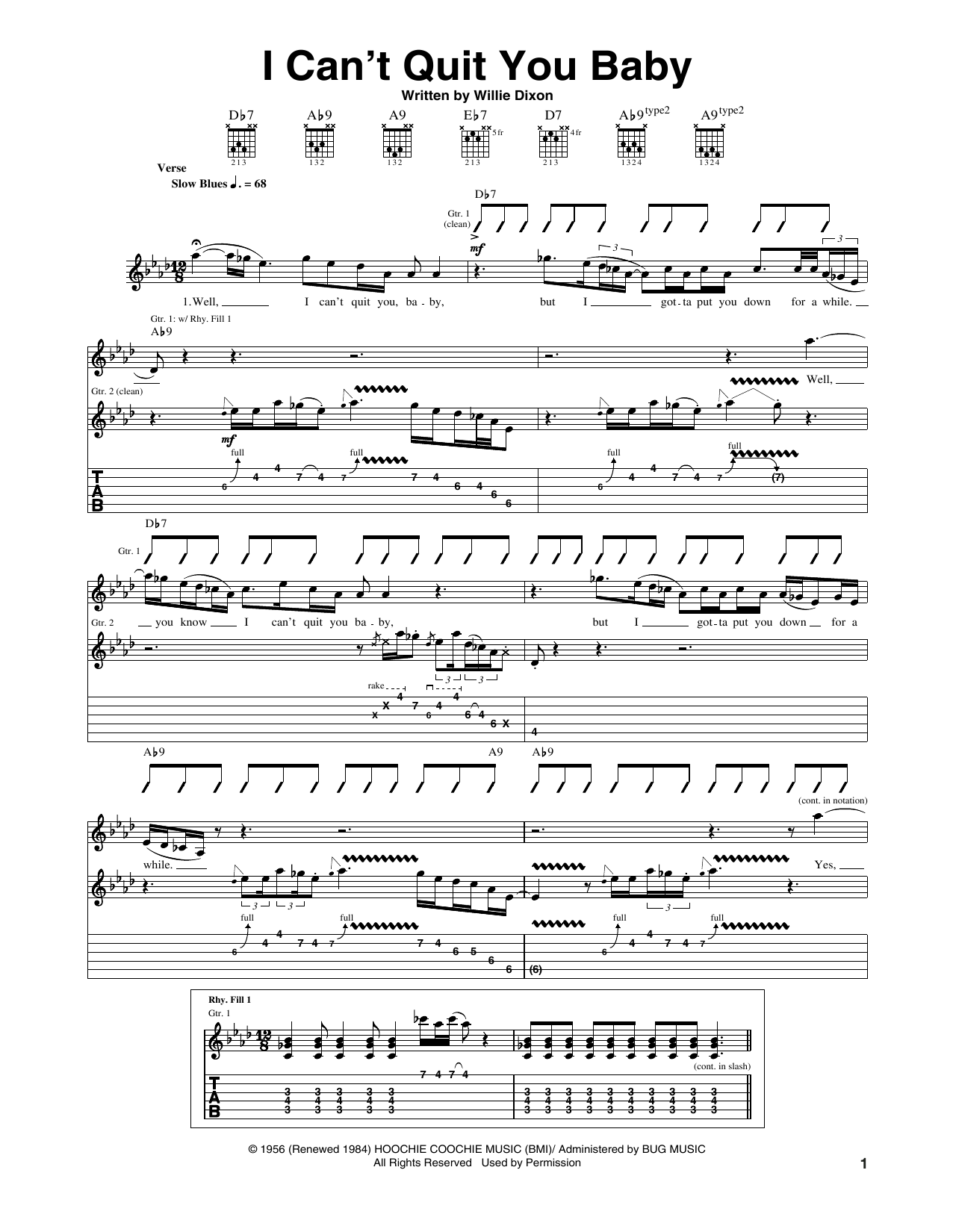 I Can't Quit You Baby (Guitar Tab)