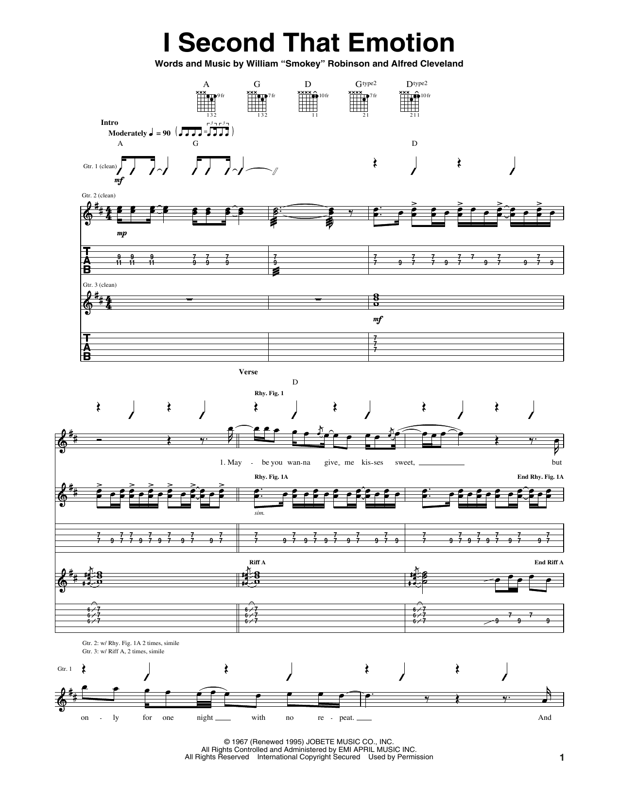 Tablature guitare I Second That Emotion de Smokey Robinson & The Miracles - Tablature Guitare