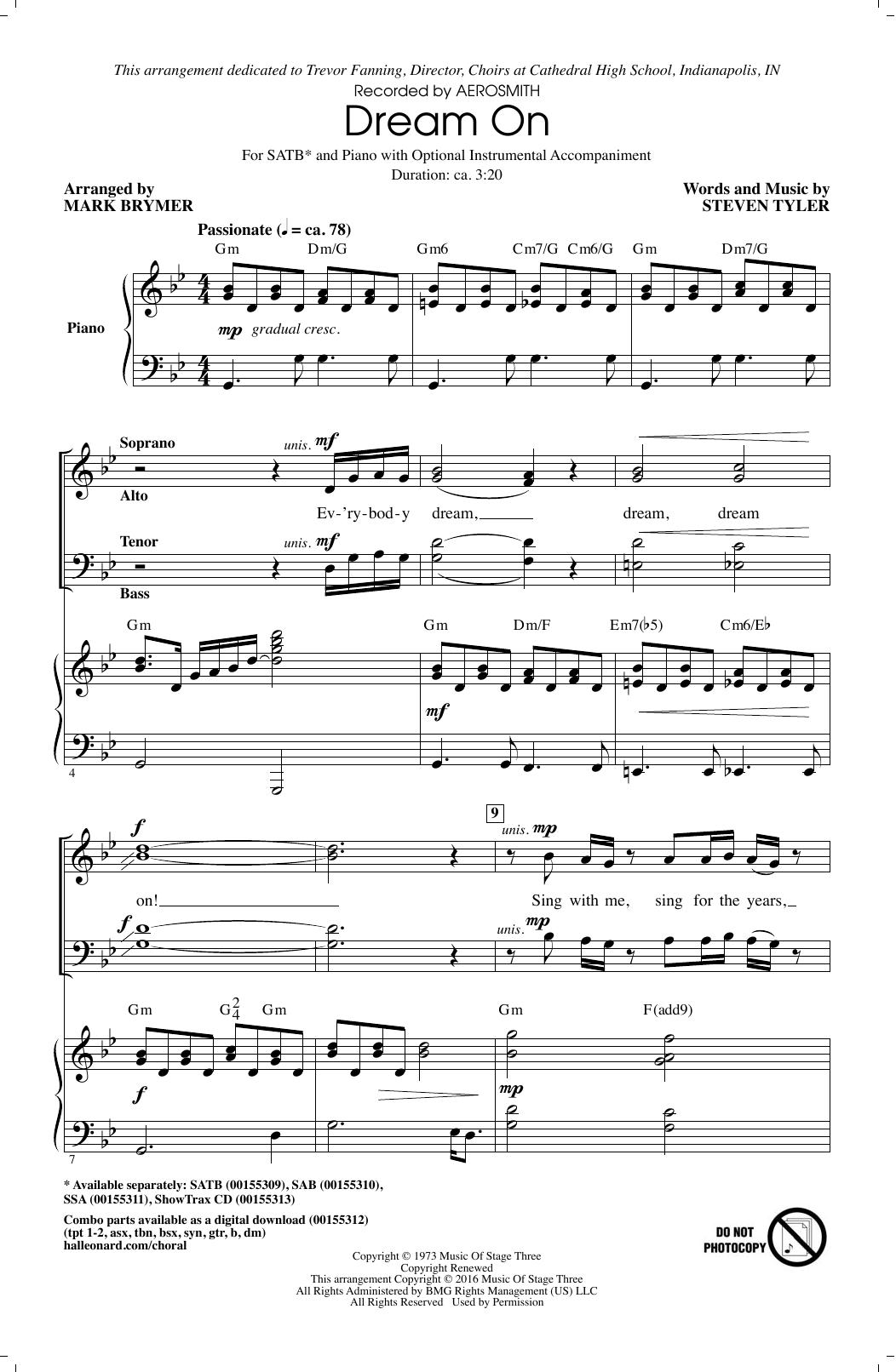 Dream On (arr. Mark Brymer) (SATB Choir)
