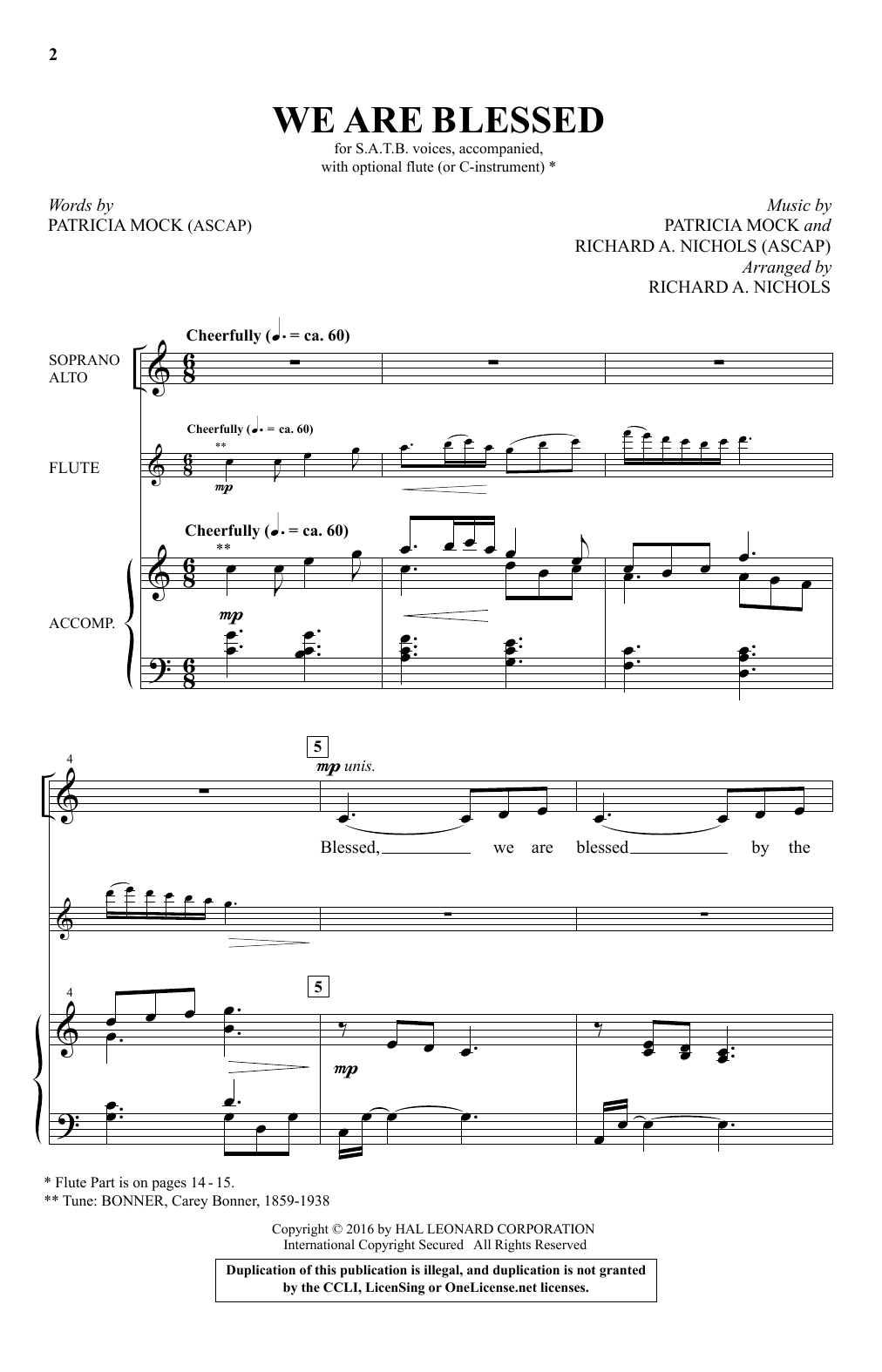 Partition chorale We Are Blessed de  - SATB