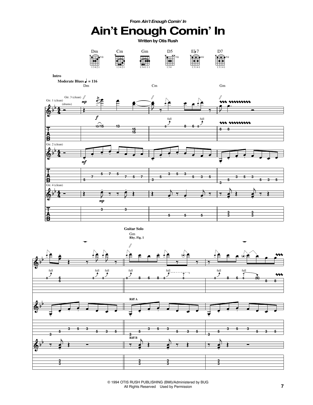Tablature guitare Ain't Enough Comin' In de Otis Rush - Tablature Guitare