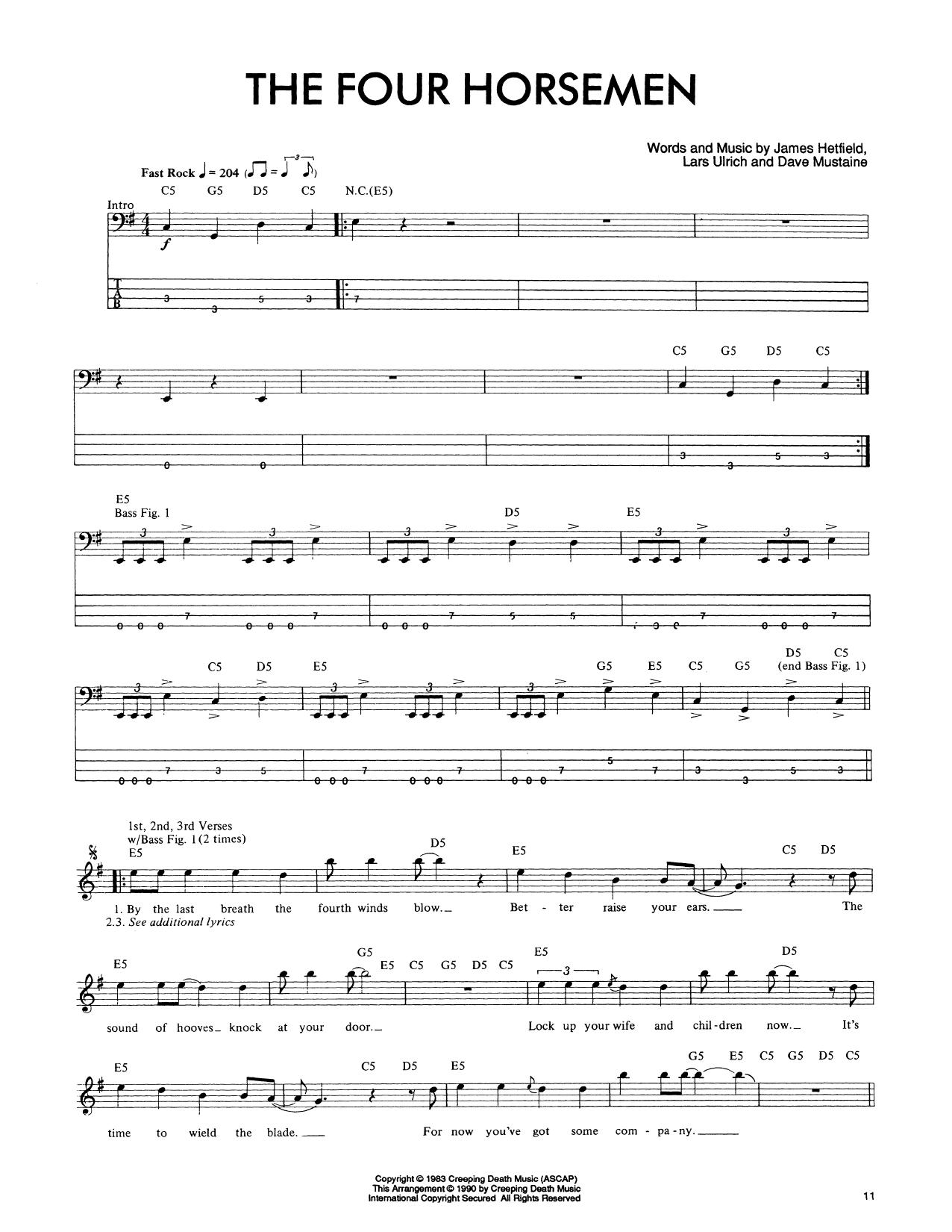 The Four Horsemen Sheet Music