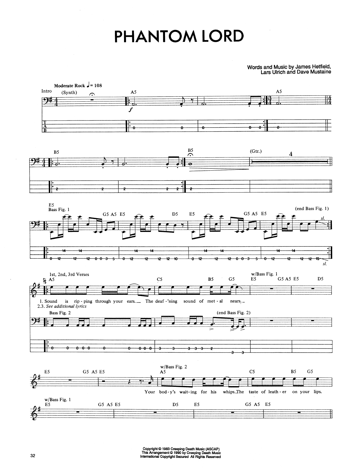 Phantom Lord (Bass Guitar Tab)