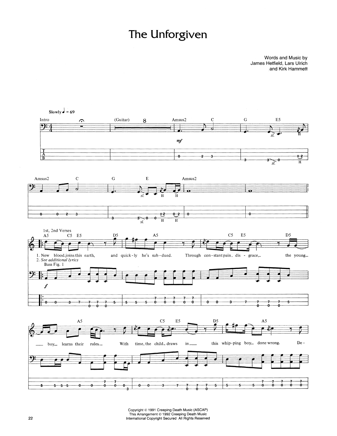 Tablature guitare The Unforgiven de Metallica - Tablature Basse