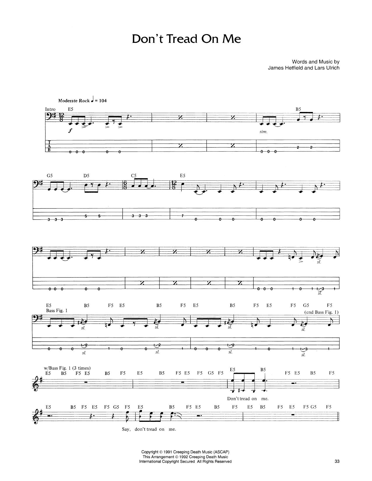 Don't Tread On Me (Bass Guitar Tab)