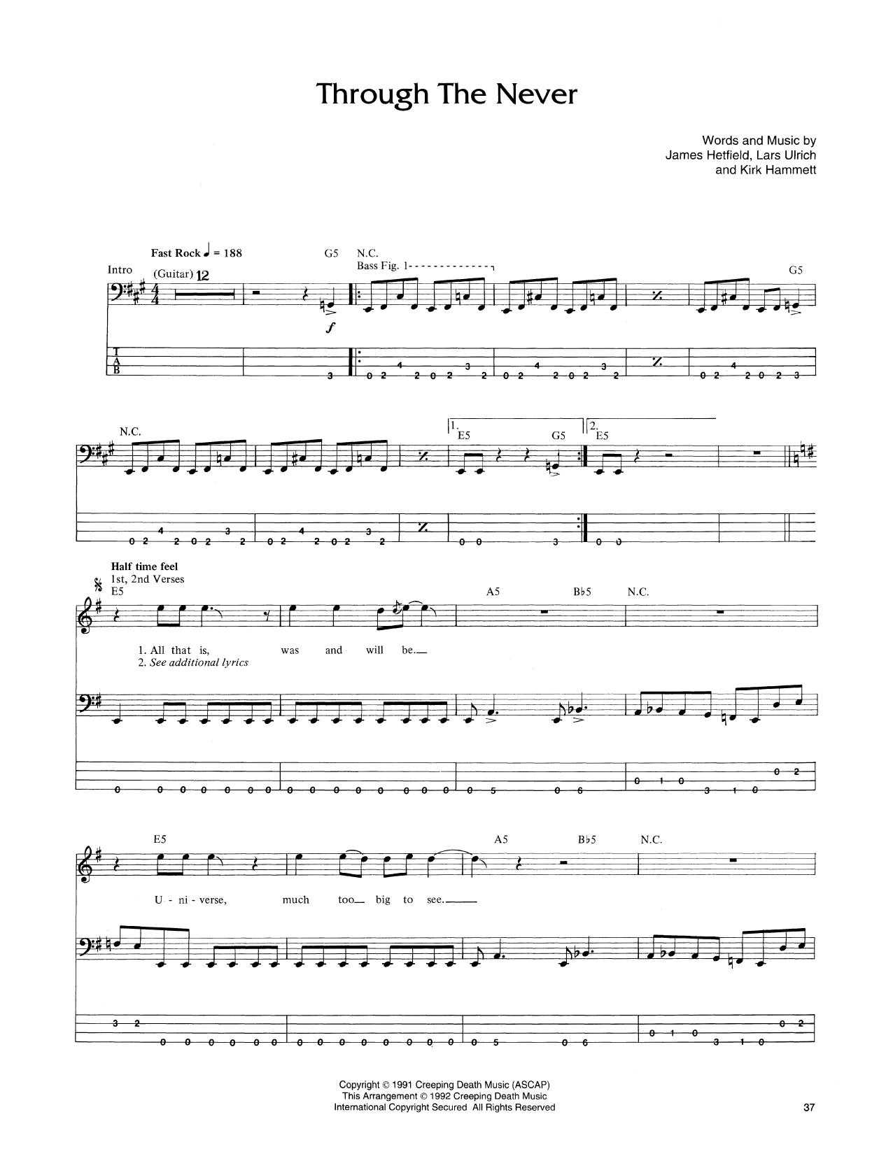Through The Never Sheet Music