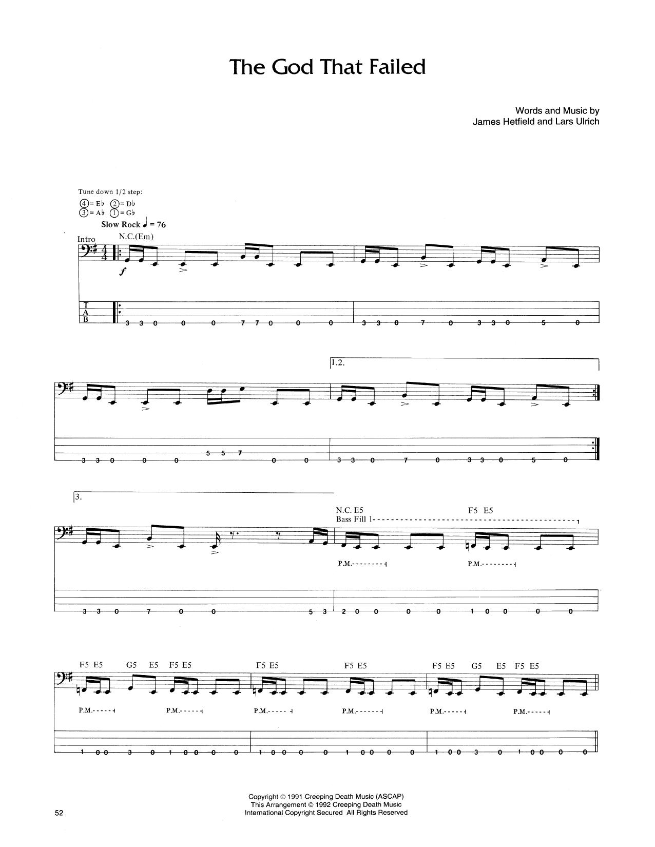 The God That Failed (Bass Guitar Tab)