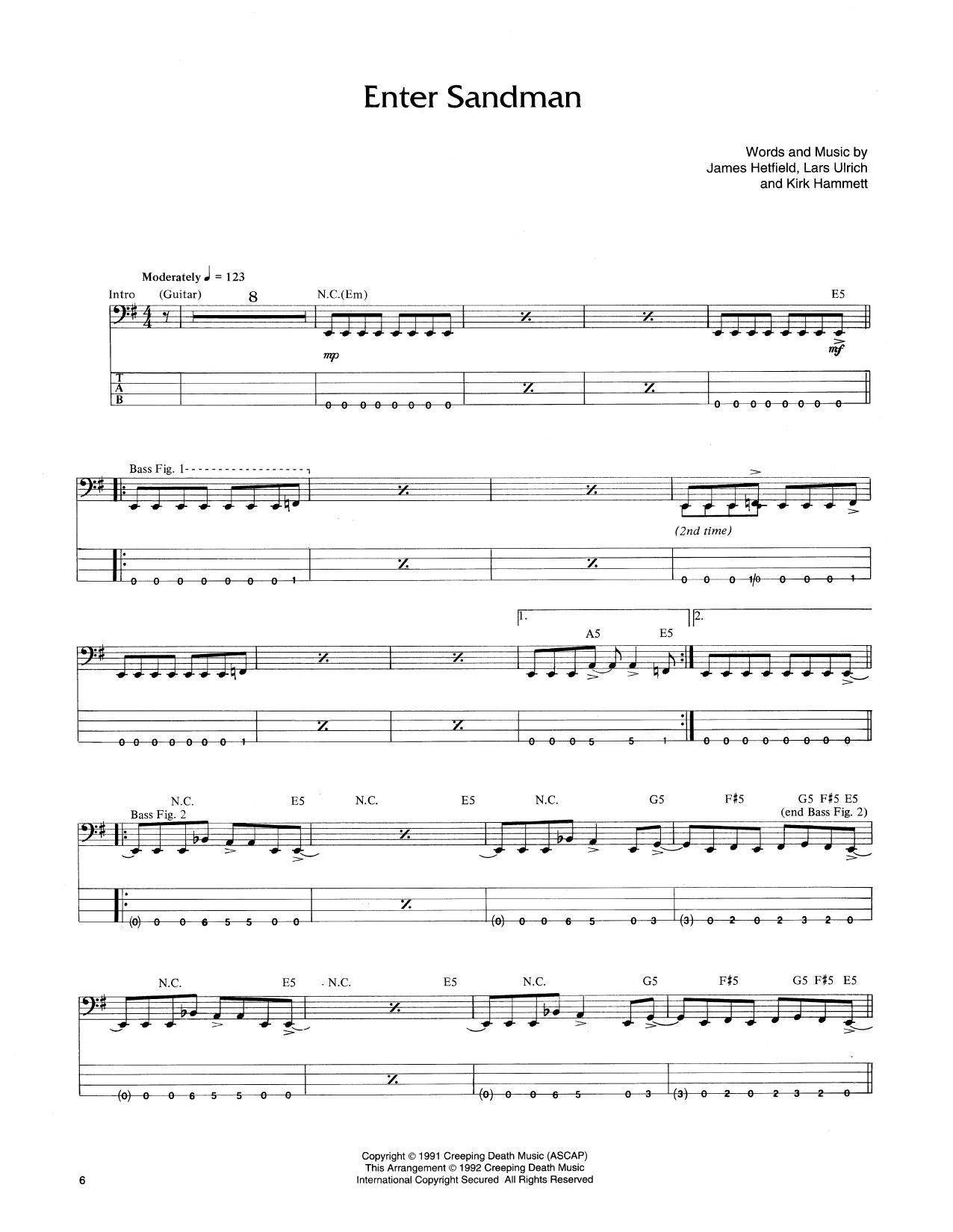 Enter Sandman (Bass Guitar Tab)