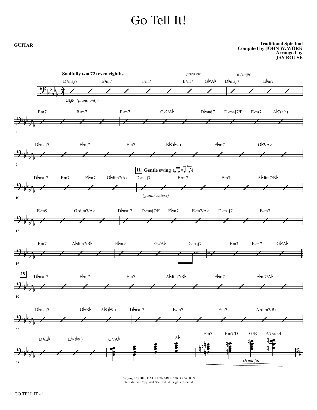 Go Tell It! (complete set of parts) sheet music for orchestra/band , Jay Rouse and John W. Work, Jr.. Score Image Preview.