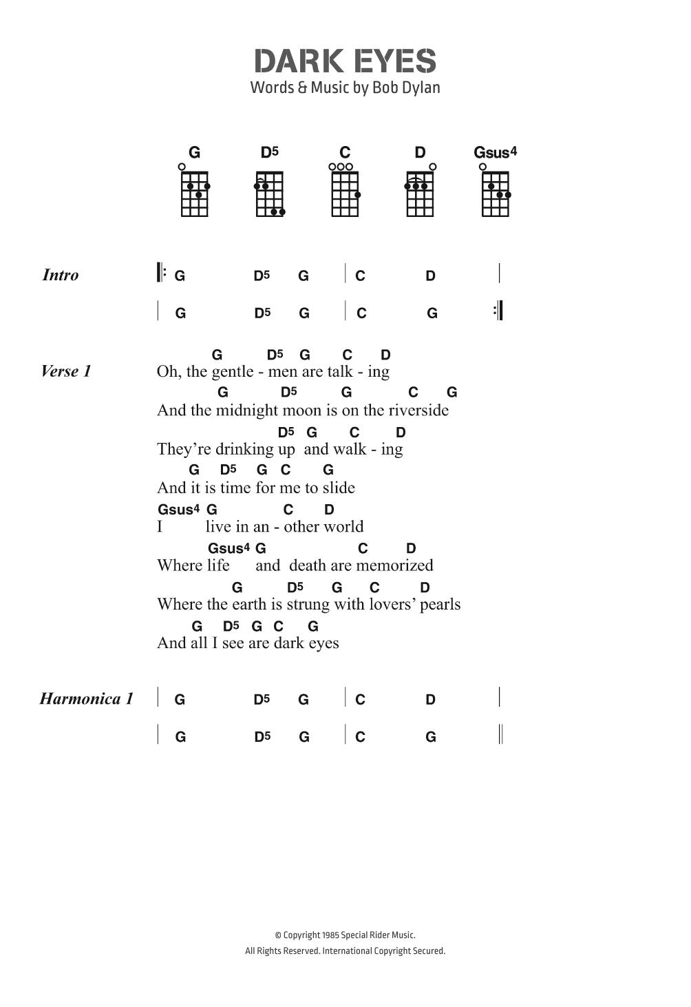 Dark Eyes Sheet Music | Bob Dylan | Ukulele Chords/Lyrics