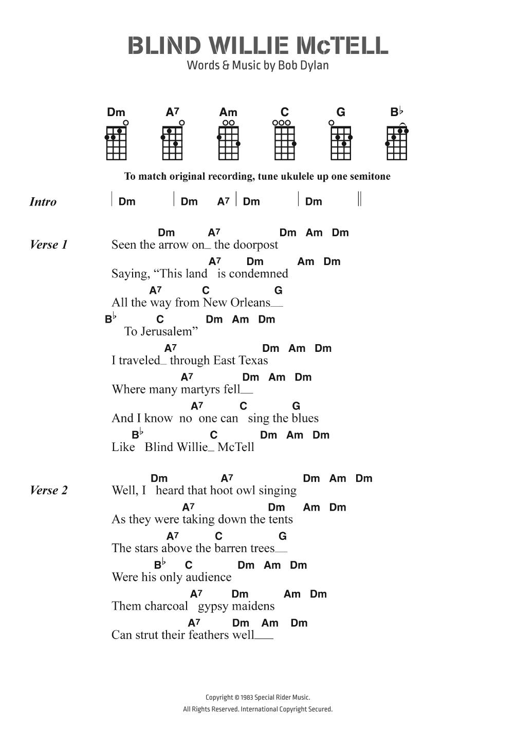 Blind Willie McTell Sheet Music