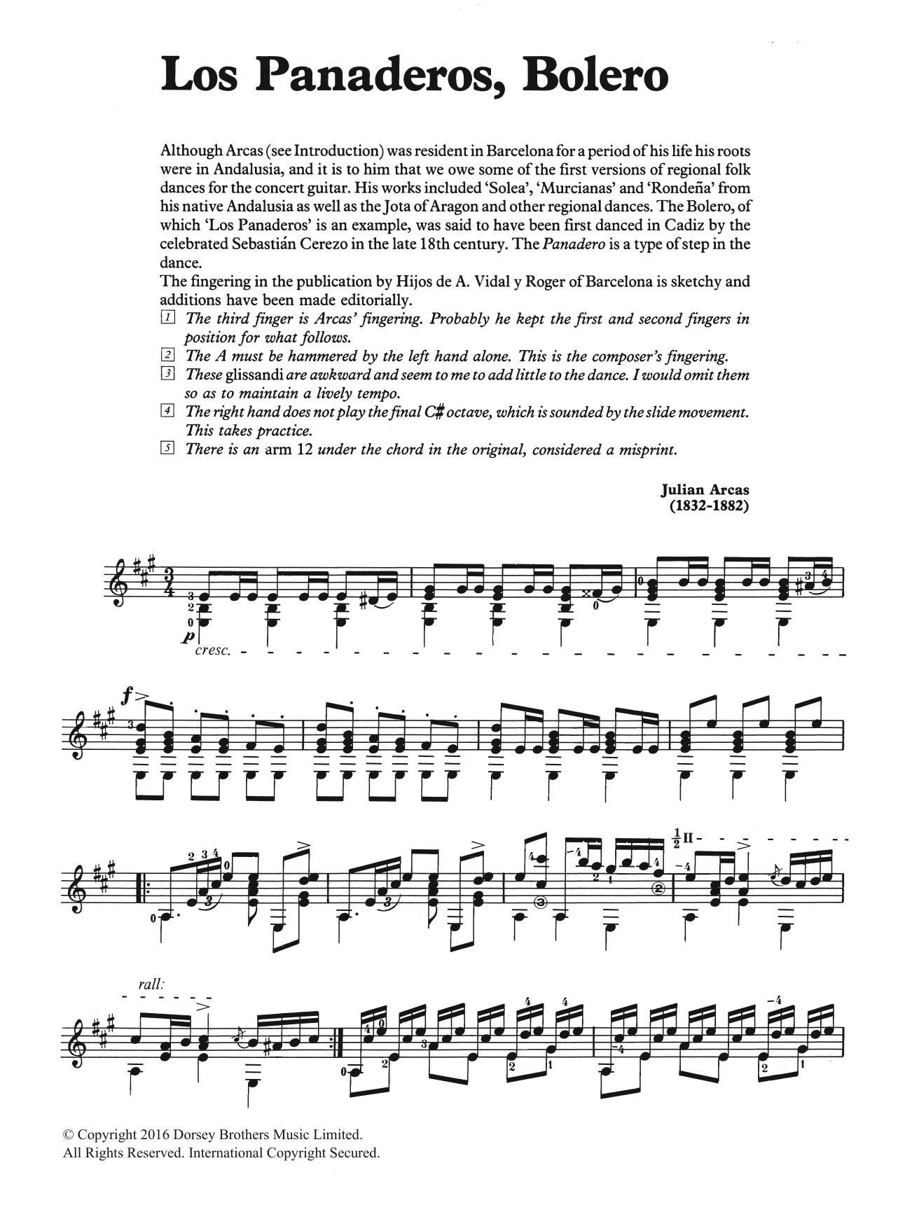 Los Panaderos, Bolero Sheet Music