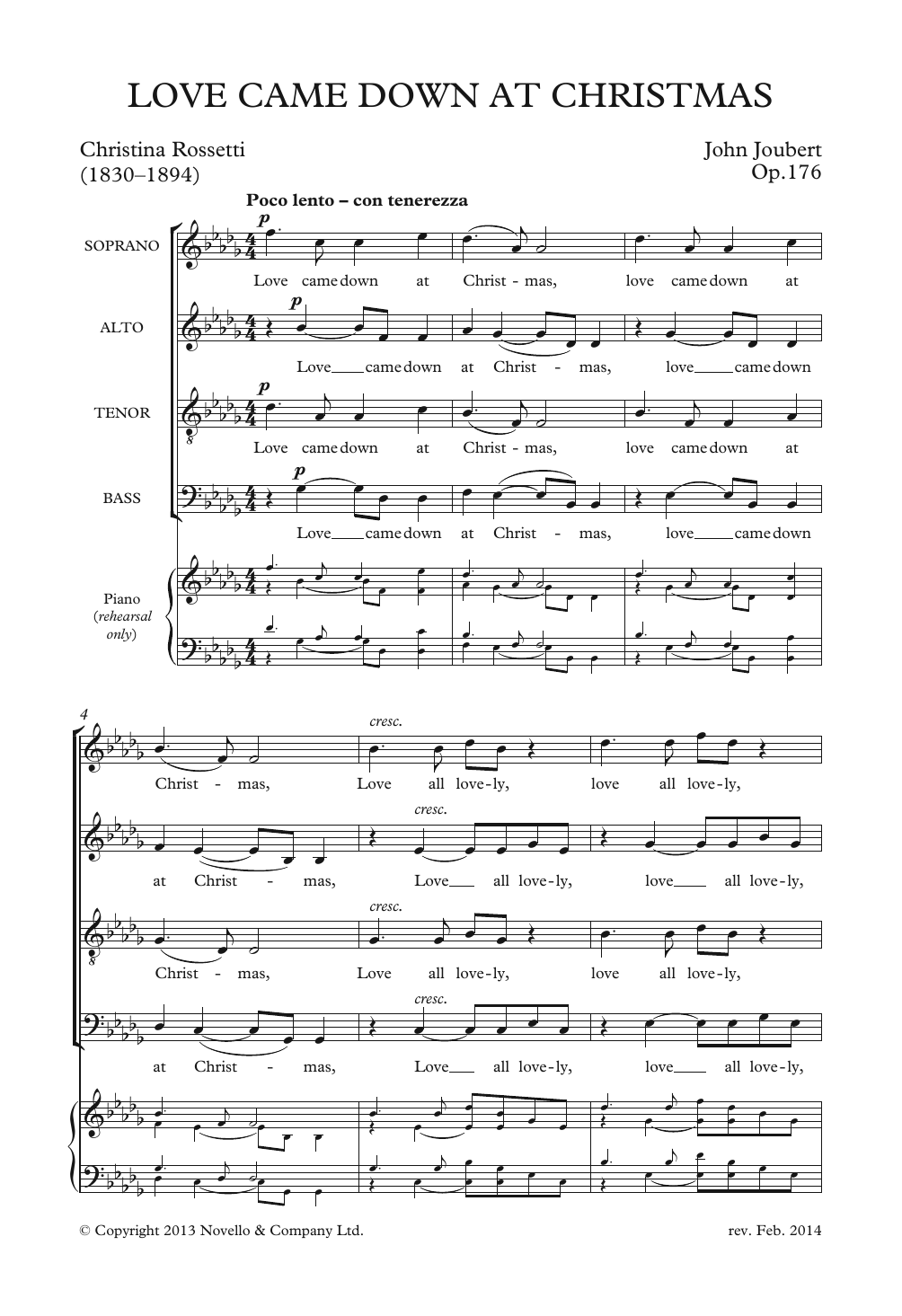 Love Came Down At Christmas Sheet Music