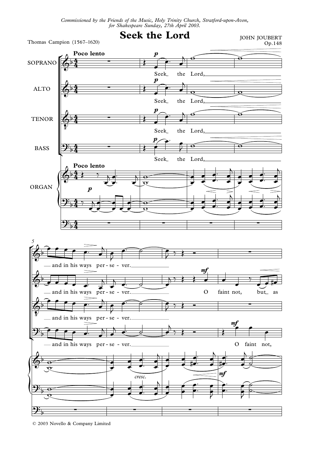 Seek The Lord Sheet Music