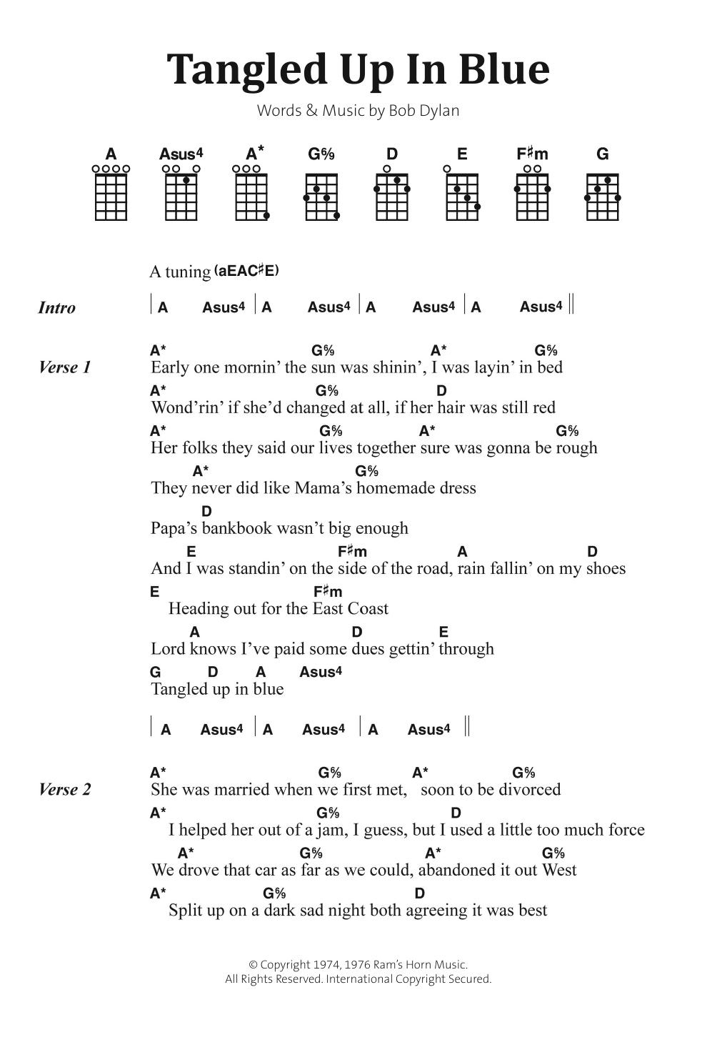 Tangled Up In Blue Sheet Music Bob Dylan Banjo Lyrics Chords