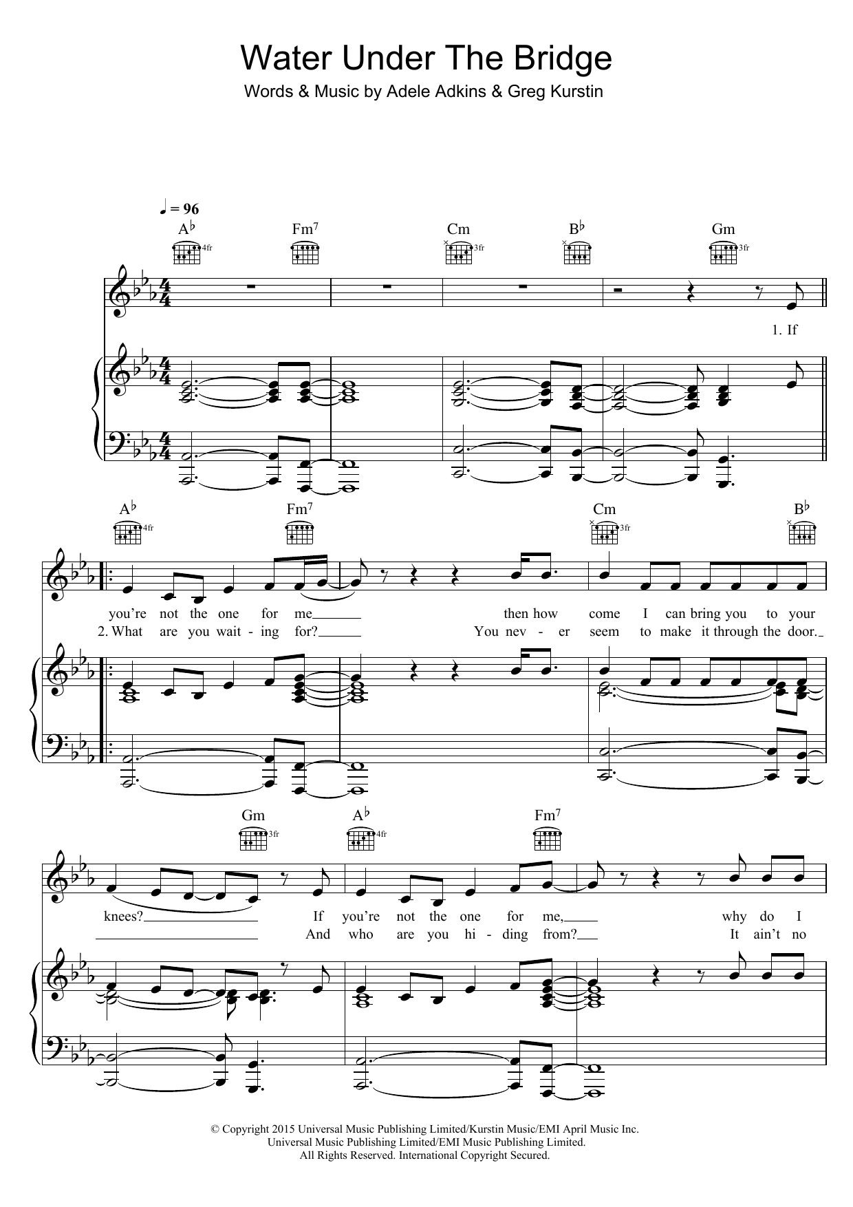 Water Under The Bridge Sheet Music