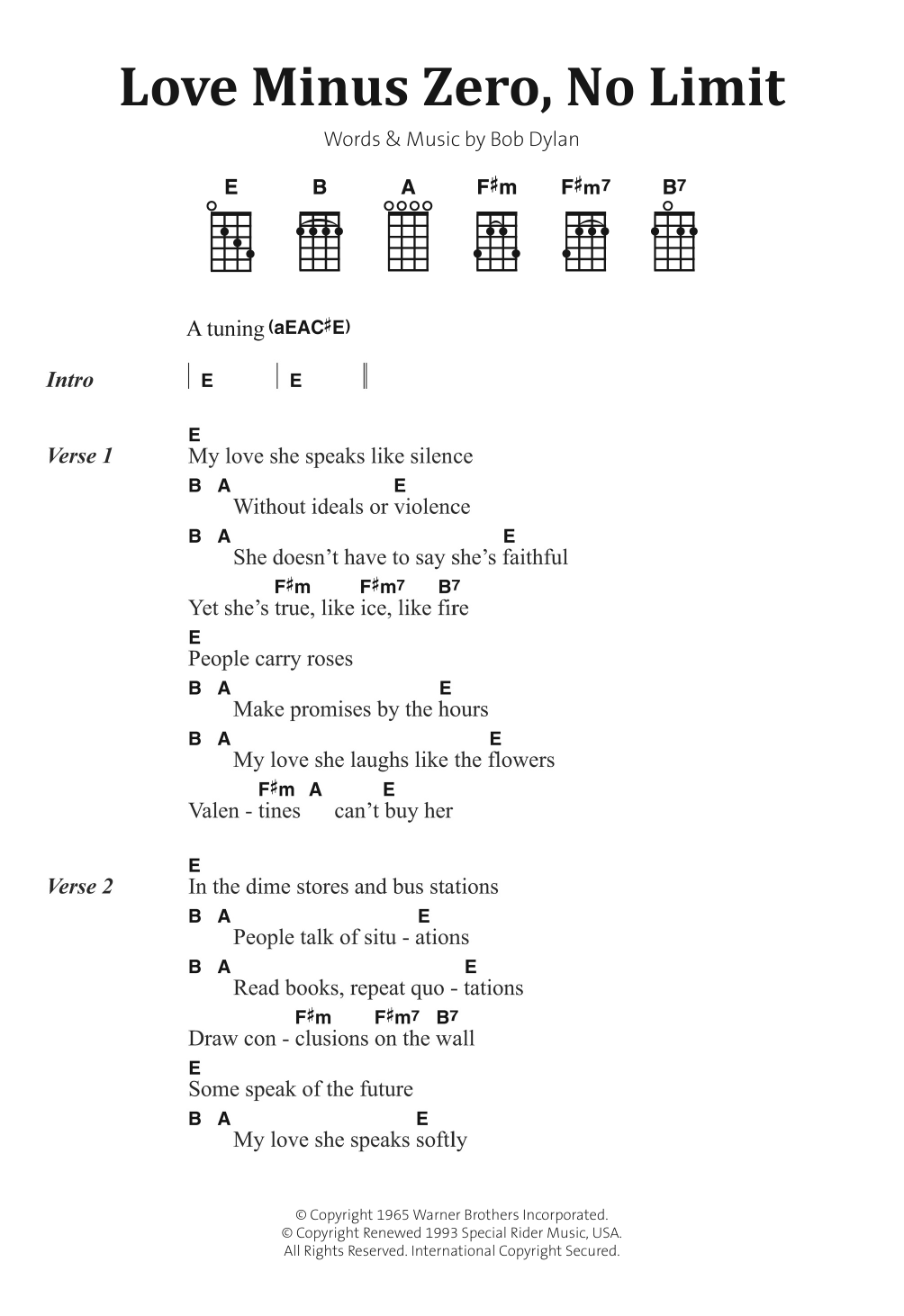 Love Minus Zero/No Limit Sheet Music
