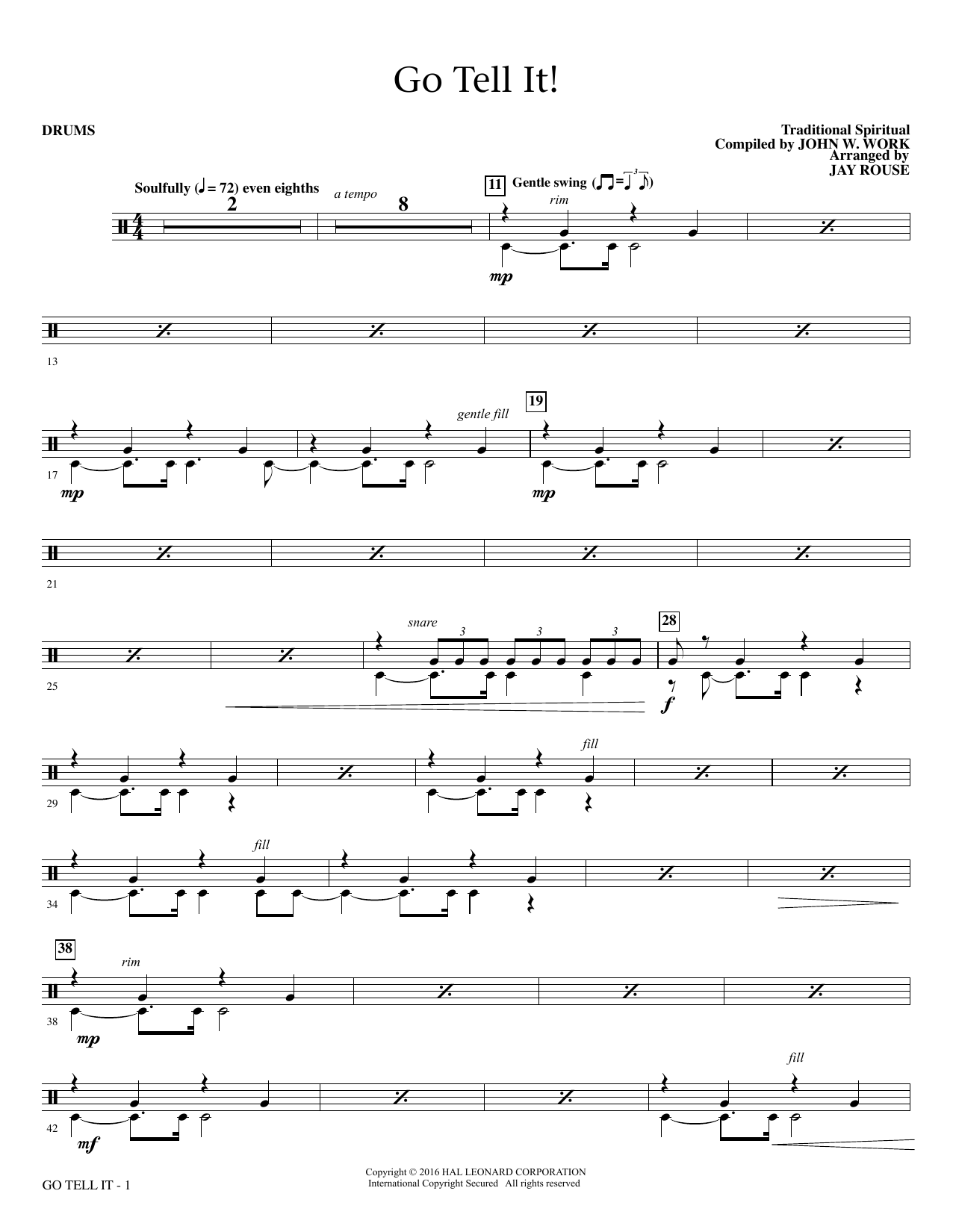 Go Tell It! - Drum Set Sheet Music