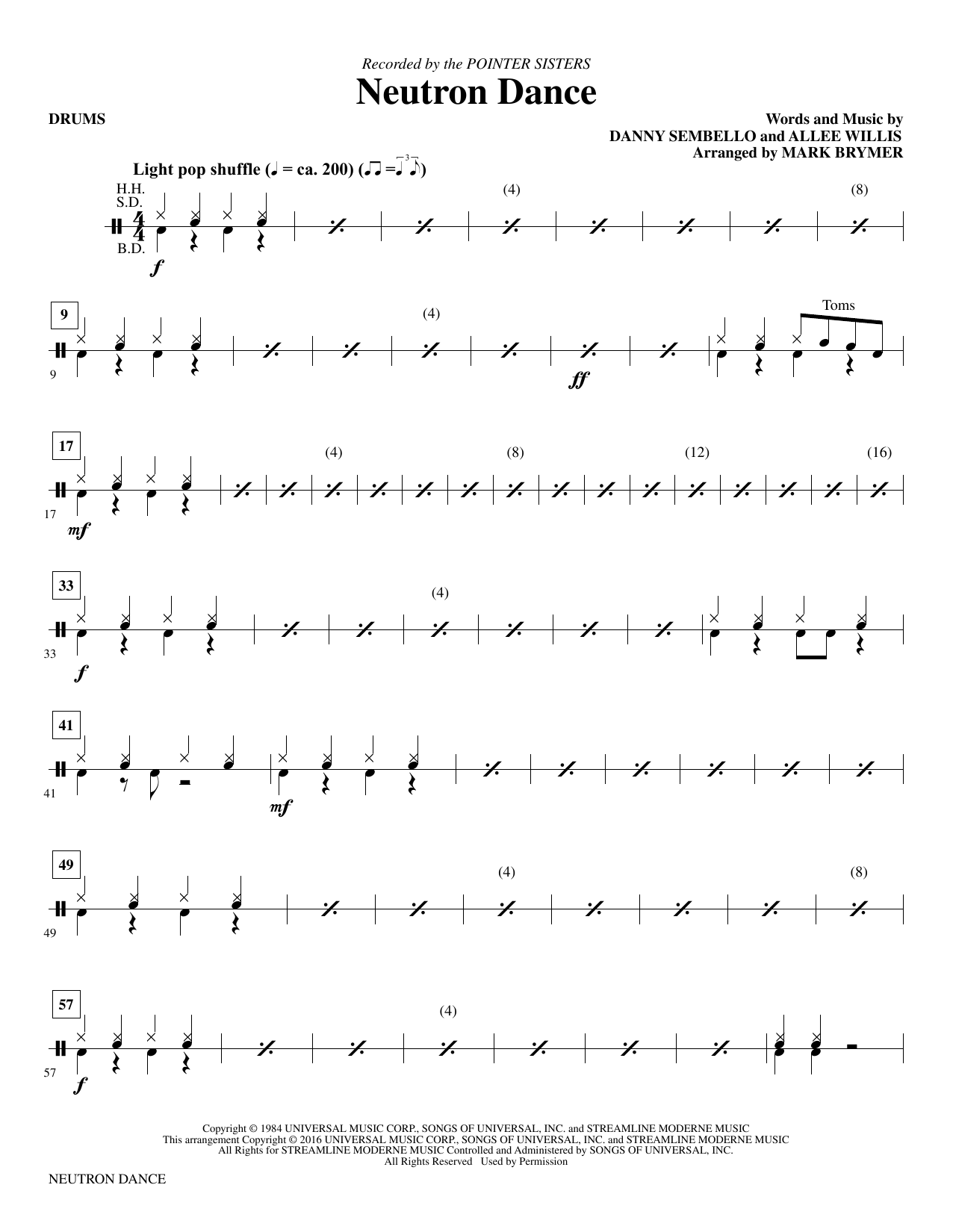 Neutron Dance - Drums Sheet Music