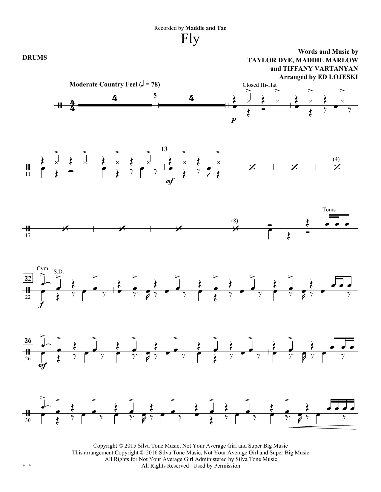 Fly - Drums Sheet Music