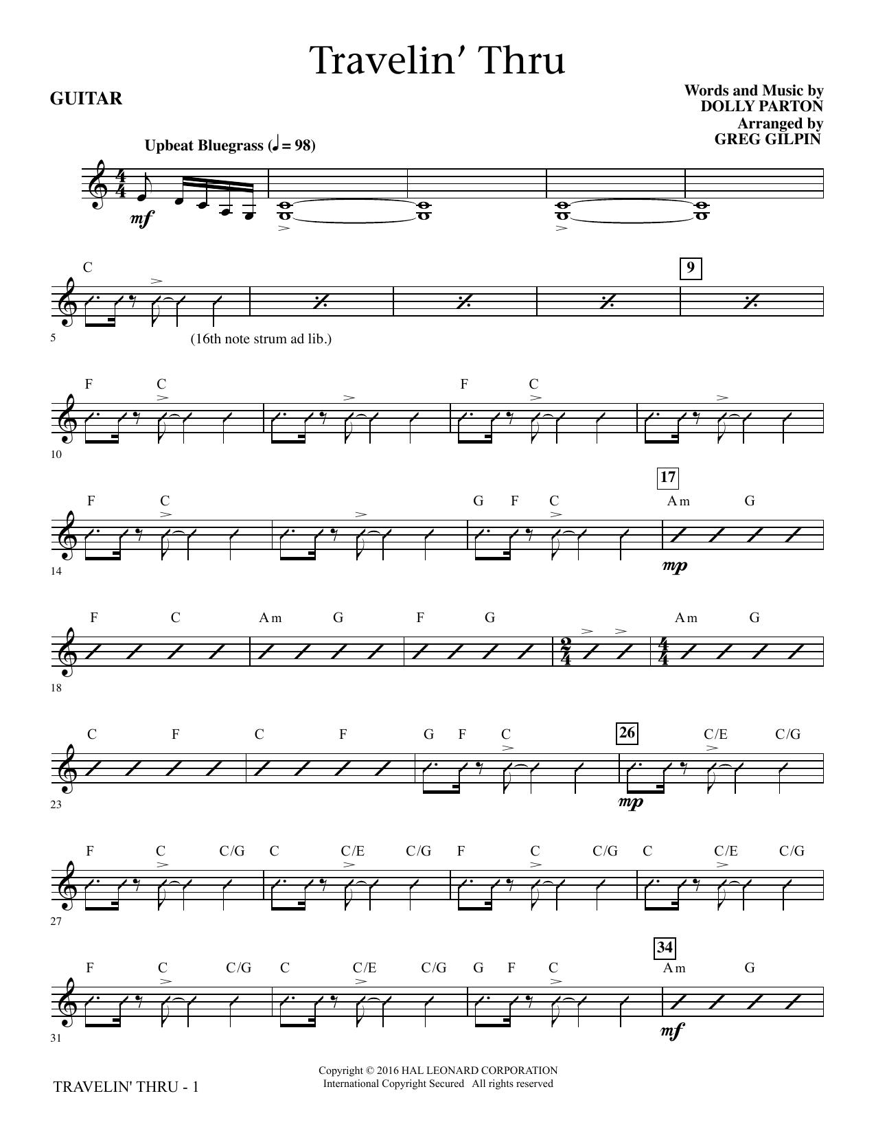 Travelin' Thru - Guitar Sheet Music