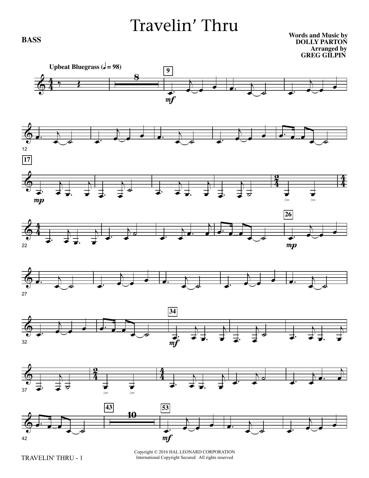 Travelin' Thru - Bass (Choir Instrumental Pak)