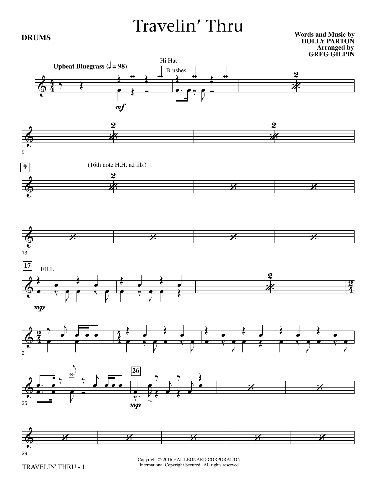 Travelin' Thru - Drum Set (Choir Instrumental Pak)