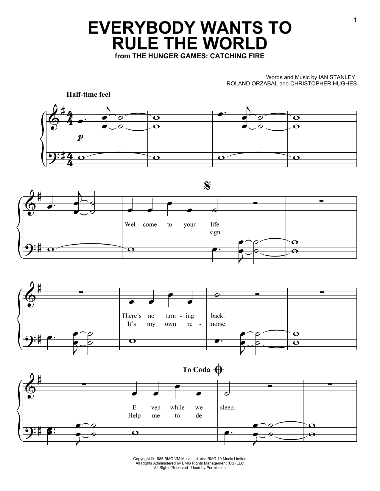 Partition piano Everybody Wants To Rule The World de Tears for Fears - Piano Facile