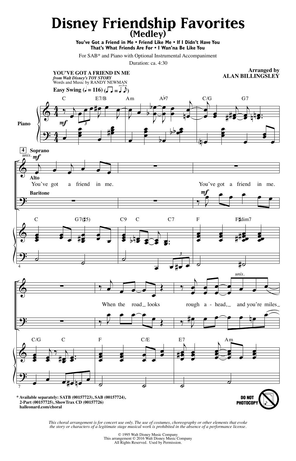 Disney Friendship Favorites (Medley) (SAB Choir)