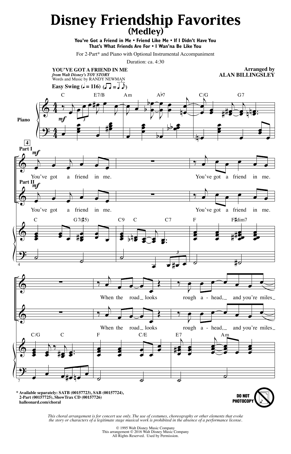 Disney Friendship Favorites (Medley) (2-Part Choir)