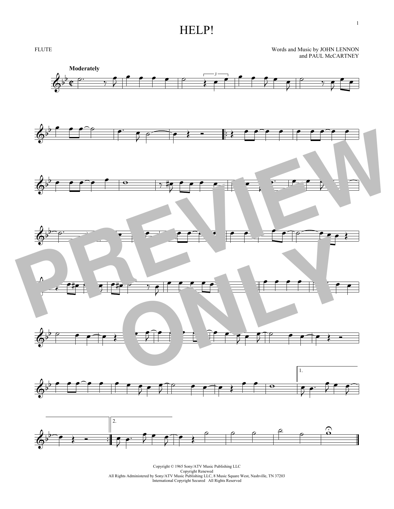 Partition flûte Help! de The Beatles - Flute traversiere