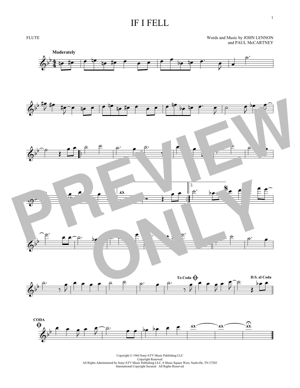Partition flûte If I Fell de The Beatles - Flute traversiere