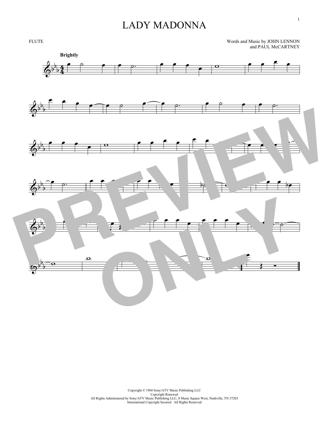 Partition flûte Lady Madonna de The Beatles - Flute traversiere
