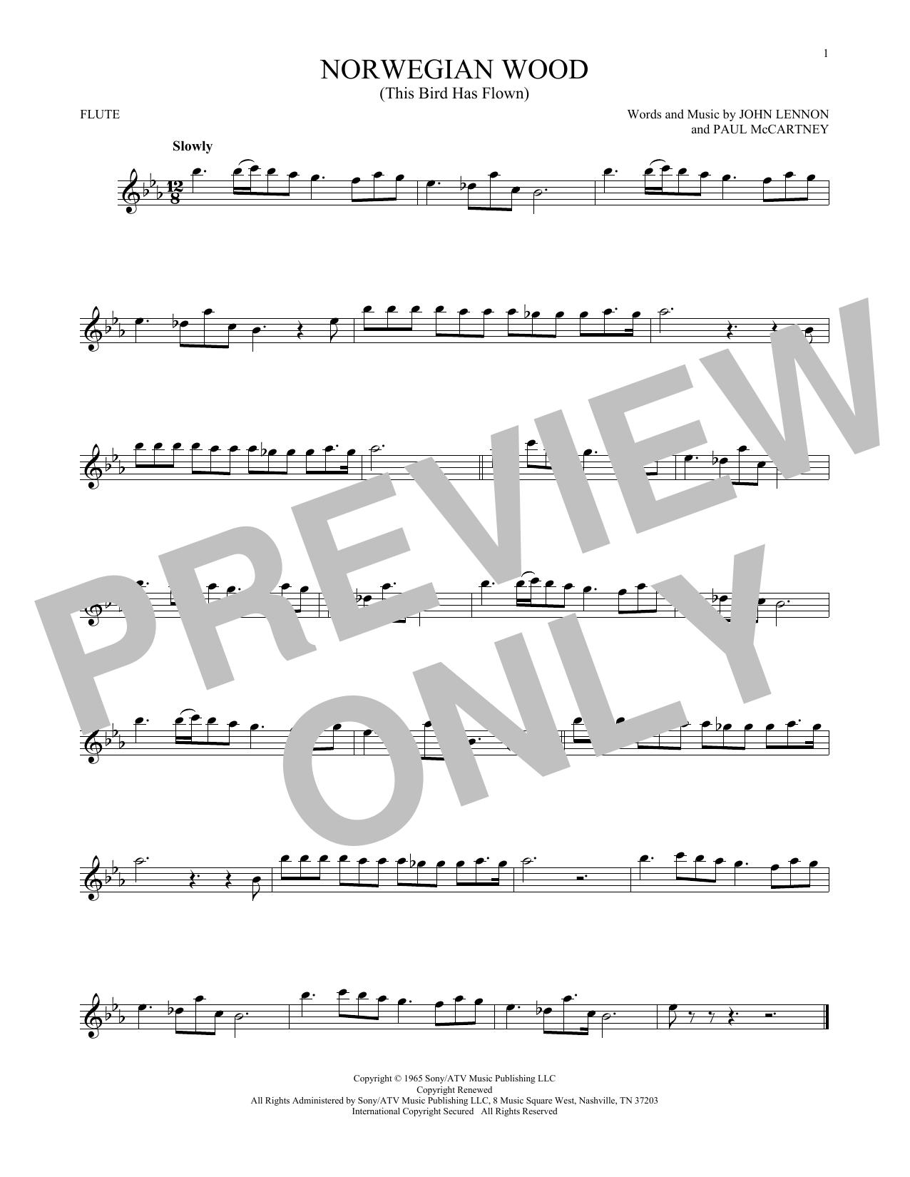 Partition flûte Norwegian Wood (This Bird Has Flown) de The Beatles - Flute traversiere
