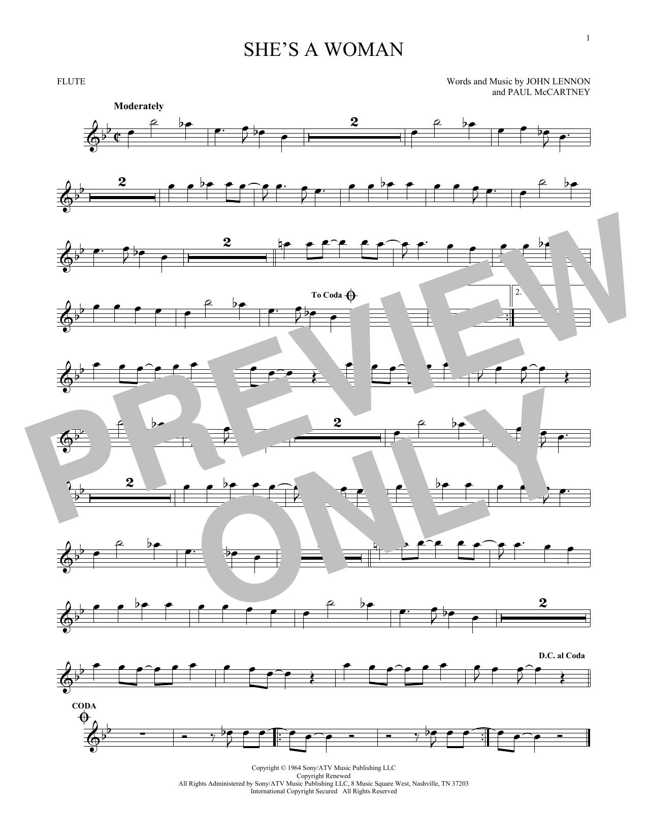 Partition flûte She's A Woman de The Beatles - Flute traversiere