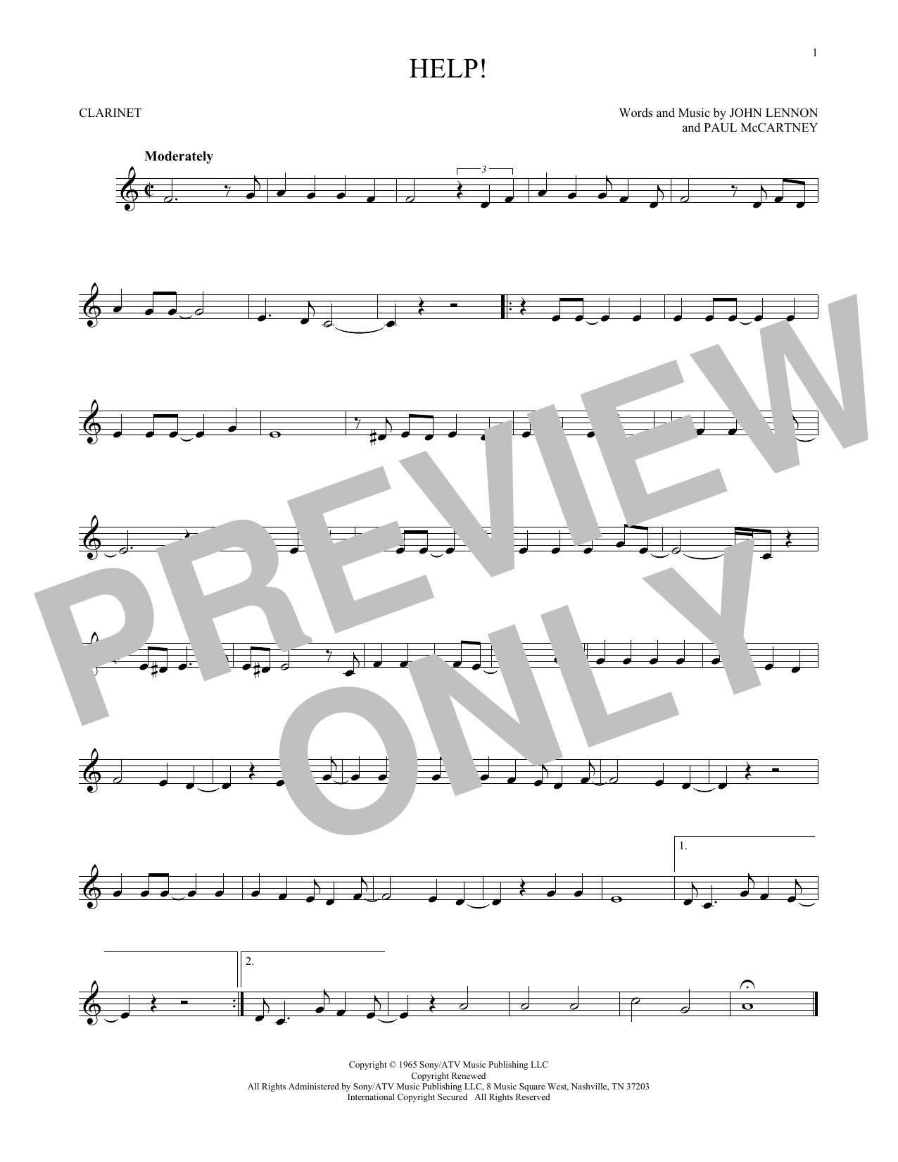 Partition clarinette Help! de The Beatles - Clarinette