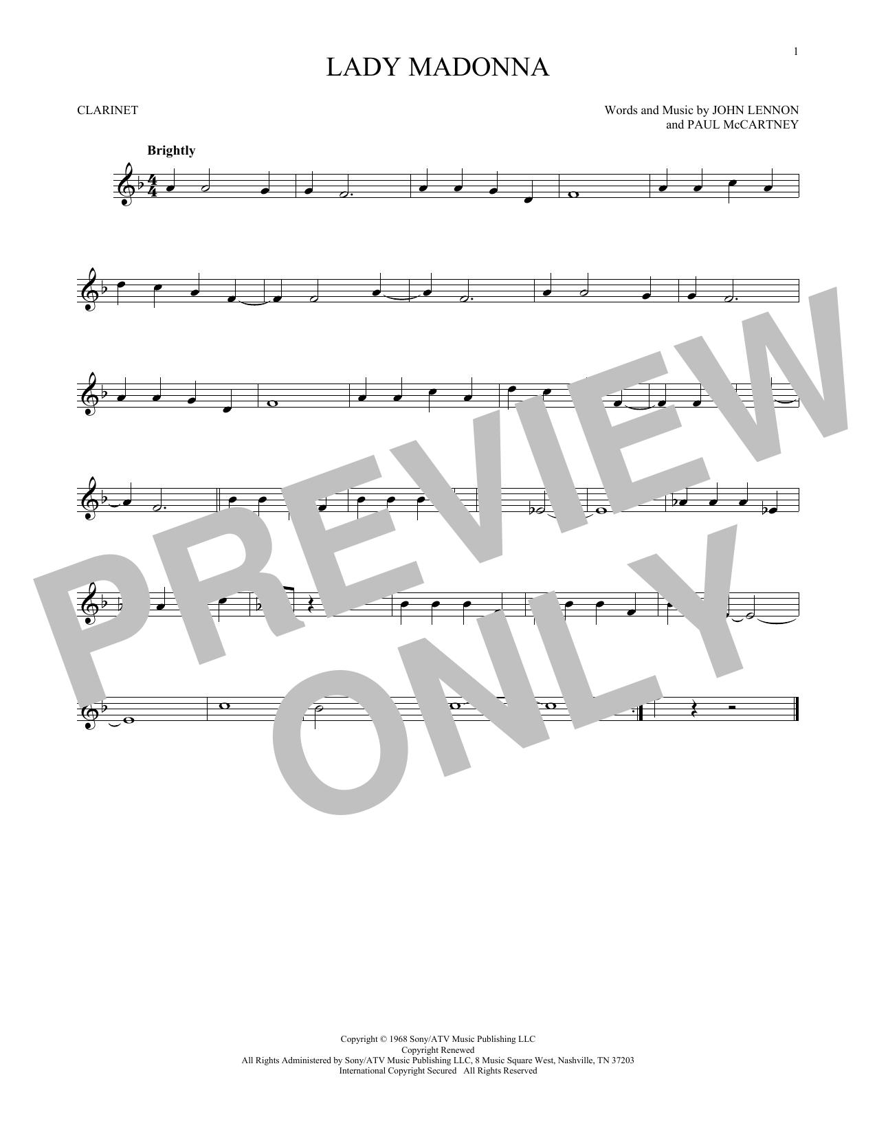 Partition clarinette Lady Madonna de The Beatles - Clarinette
