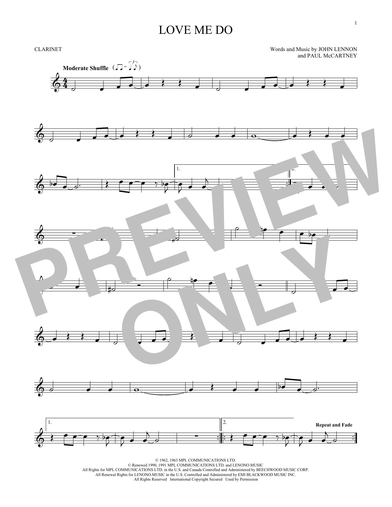 Partition clarinette Love Me Do de The Beatles - Clarinette