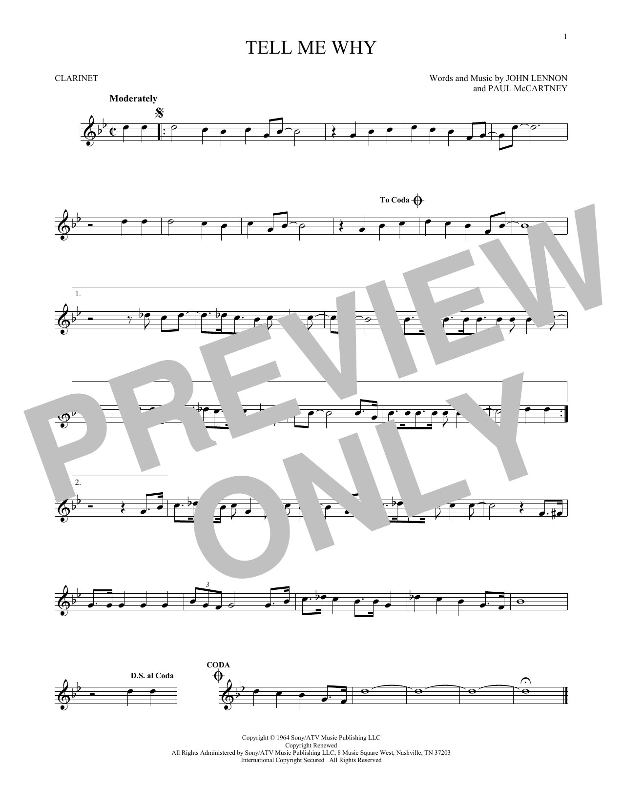 Tell Me Why (Clarinet Solo)