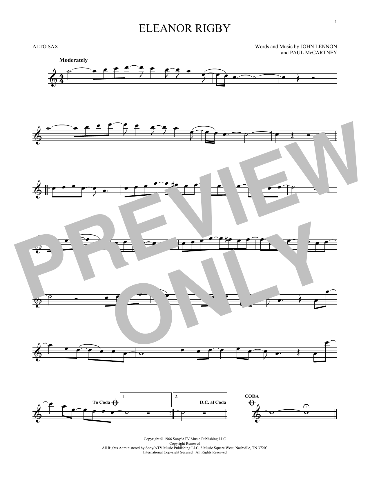Partition saxophone Eleanor Rigby de The Beatles - Sax Alto