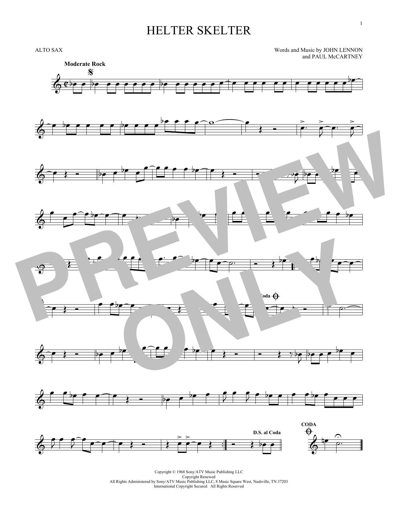 Partition saxophone Helter Skelter de The Beatles - Sax Alto