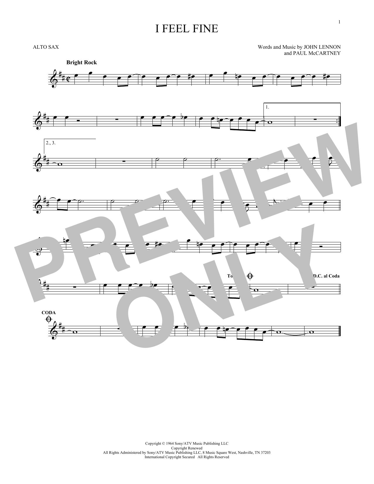 Partition saxophone I Feel Fine de The Beatles - Sax Alto