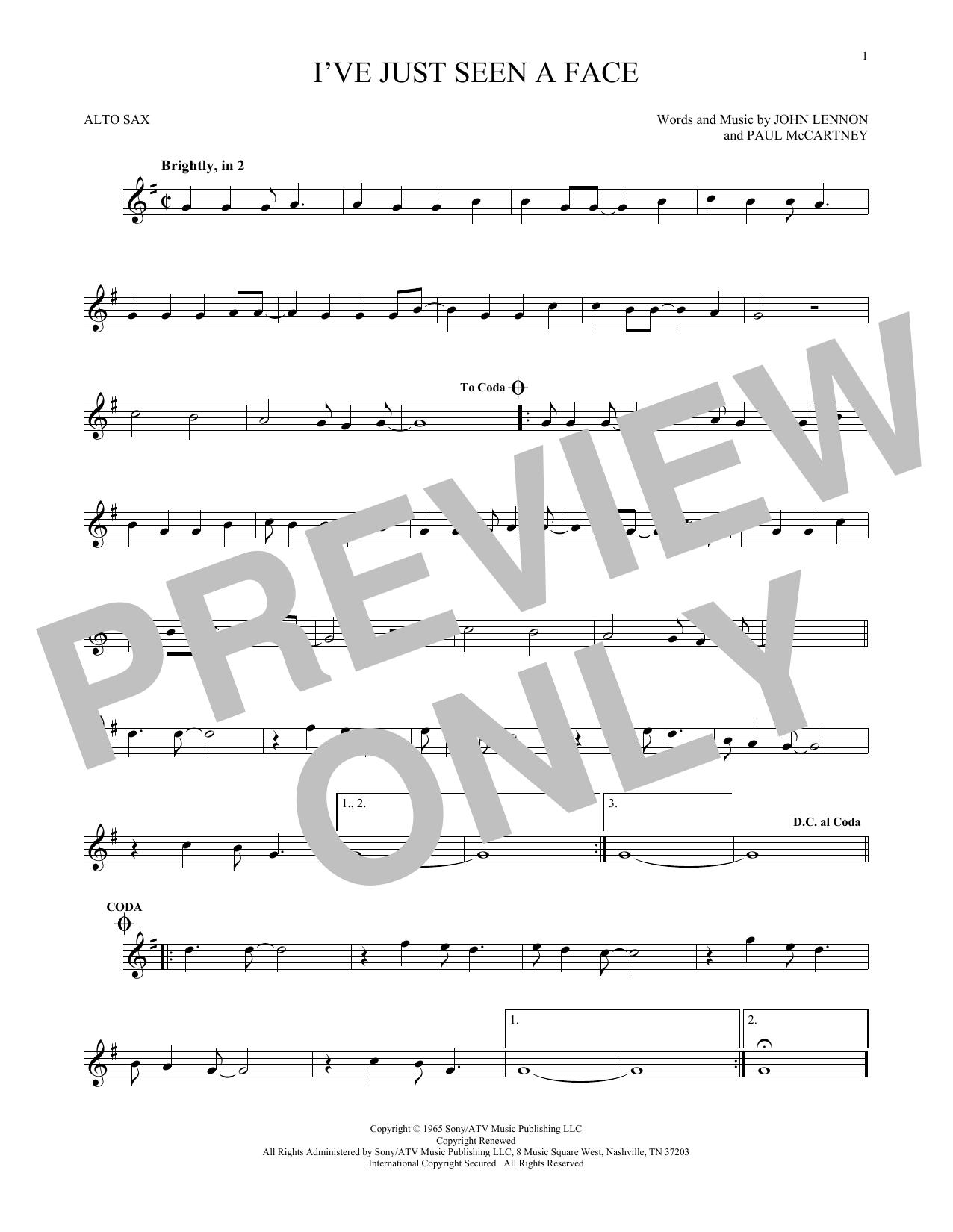 Partition saxophone I've Just Seen A Face de The Beatles - Sax Alto